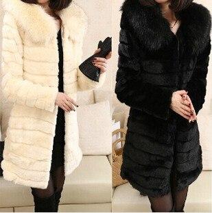 Beige Cappotto Donne Pelliccia E Faux Volpe Di Outerwear Nero Autunno il L'inverno Lana Termico Delle bianco qpB7FnHH