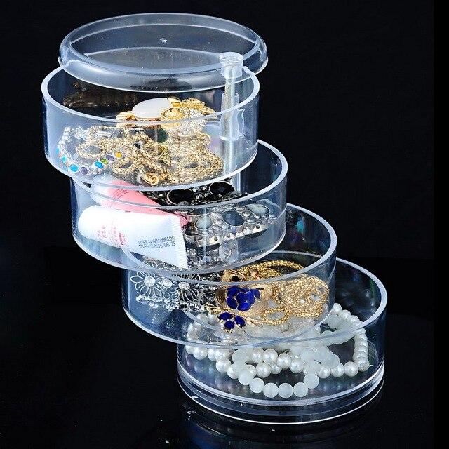 4 Layers Round Acrylic Plastic Storage Box Cosmetic Makeup Organizer