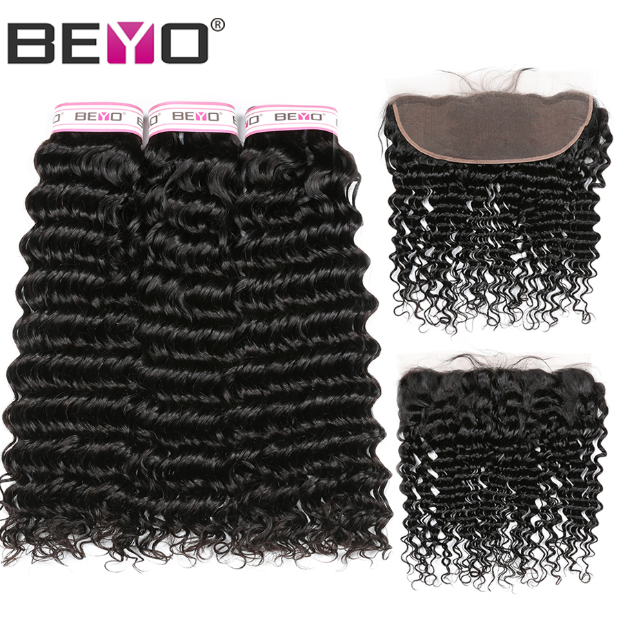 Beyo Hair Deep Wave Brazilian Hair Weave Bundles With Closure 3