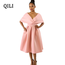 QILI Sexy Deep V Neck Dress Women White Blue Pink Rose-red Batwing Sleeve High Waist A-Line Dresses Night Club Party Ball Gown