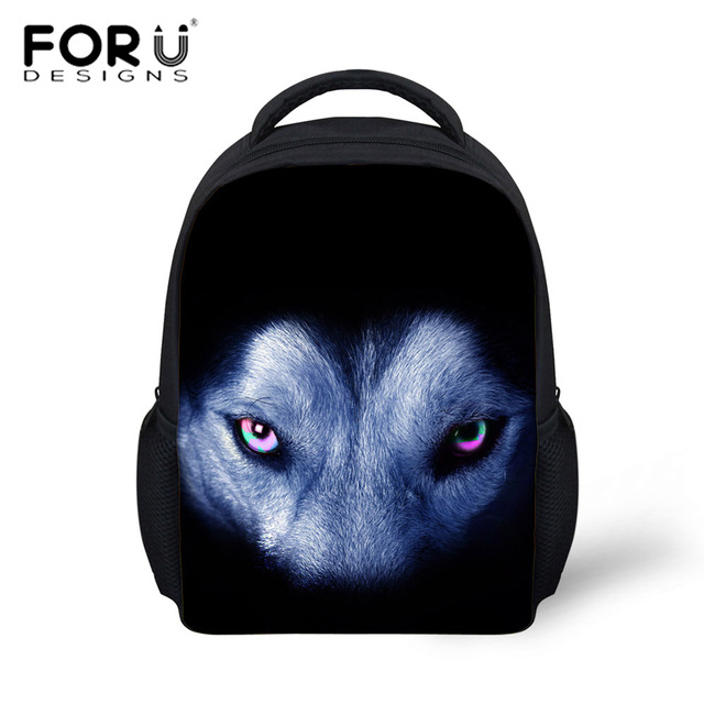 aa7f57ab07fe FORUDESIGNS 3D Animals Wolf Printing Kids Backpack Preschool Kindergarten  Children Bag Toddler Boys Girls Tiger Dog Bagpack