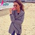 Европейский стиль мода с длинным рукавом черный искусственная кожа шить молния свободного покроя вязаные кардиганы / свитер пальто для женщин