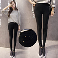 High Elastic Fashion Cotton Womens Black High Waist Torn Jeans Ripped Hole Knee Skinny Pencil Pants Slim Capris Black S M L Xl