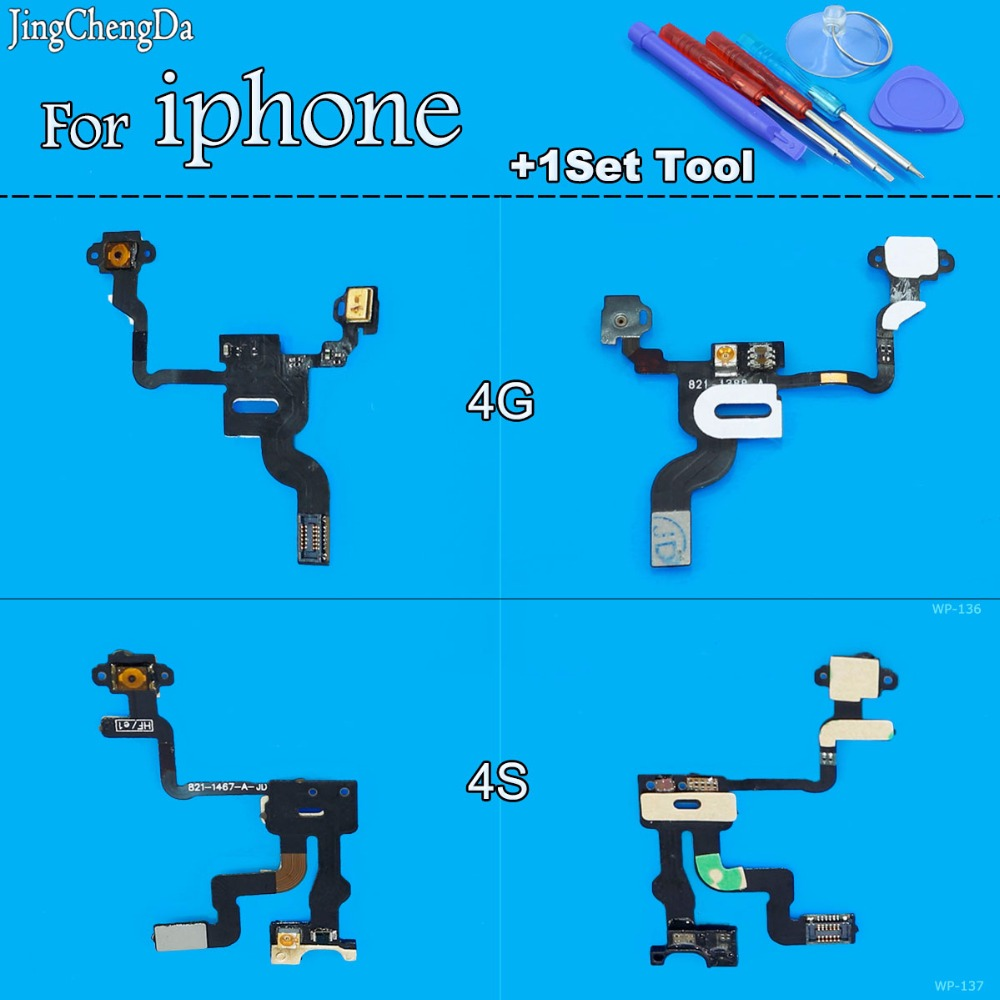 Jing Cheng Da New On / Off Button Power Switch Flex Cable Ribbon For iPhone 4 4S Proximity Light Sensor Replacement Repair Parts