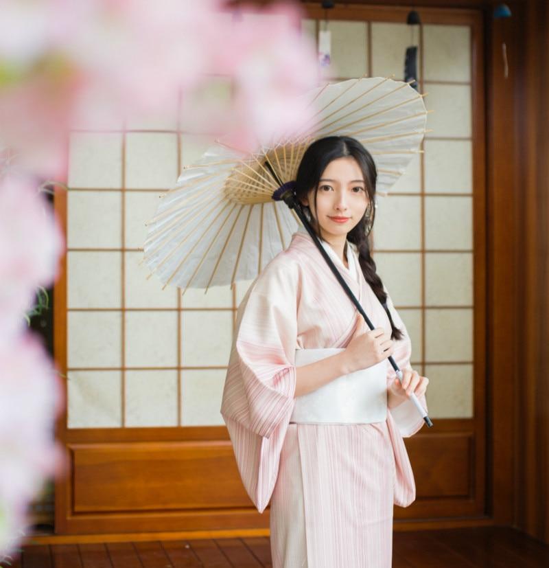 Vintage Striped Women Kimono National Japanese Yukata Elegant Pink Girls Long Robe Gown Classic Formal Evening Dress Vestidos