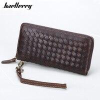 Handmade Weave Women Wallet Genuine Leather Knitting Long Wallet Female Clutch Purse Big Capacity Card Holder