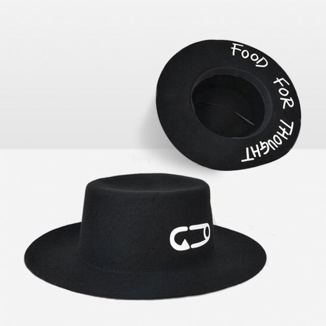 2016 Solide Papier Clip Imprimé Fedora Chapeau Pour Les Femmes Sombreros Bonnet de laine Buveur Noir Seau Chapeau De Mode Chapeau Melon Chaude ventes