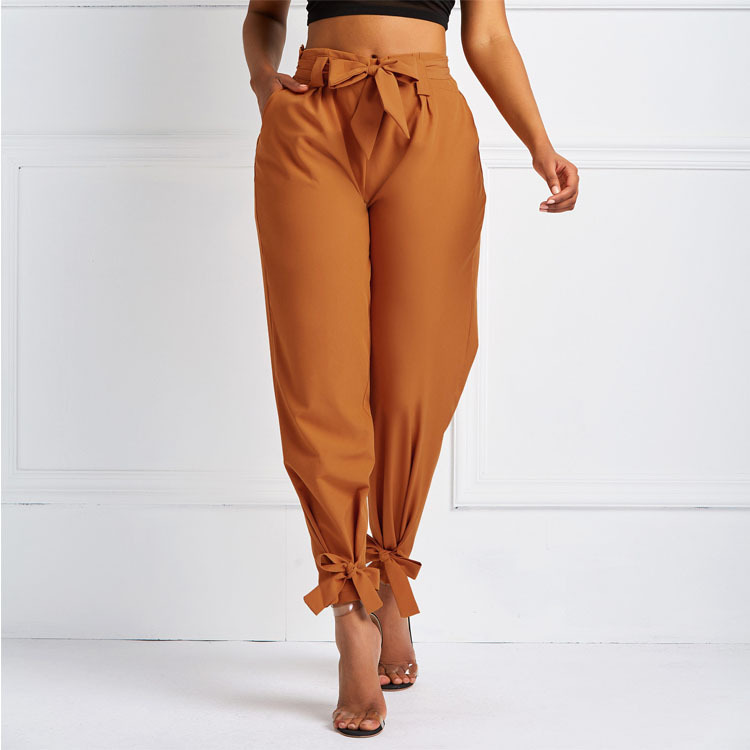 Women Summer Harem Pants With Waist Belt Bowtie Solid Trousers Ladies Casual Fashion Middle Waist Girls Street Fashion Clothing