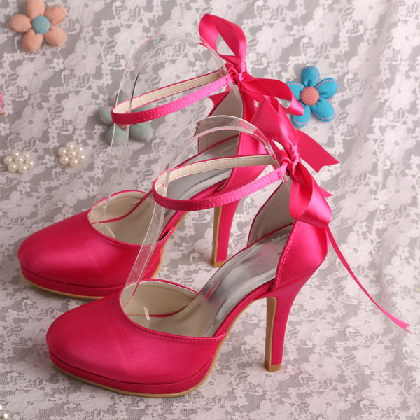 Wedopus MW215 Women Wedding Shoes Small Size Lace up Sandals Fuchisa