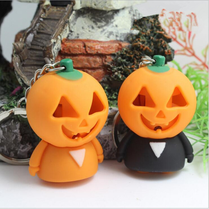 Halloween carnival sound <font><b>light</b></font> key chains <font><b>pumpkin</b></font> keyrings voice <font><b>LED</b></font> pendant creative toys gift wholesale