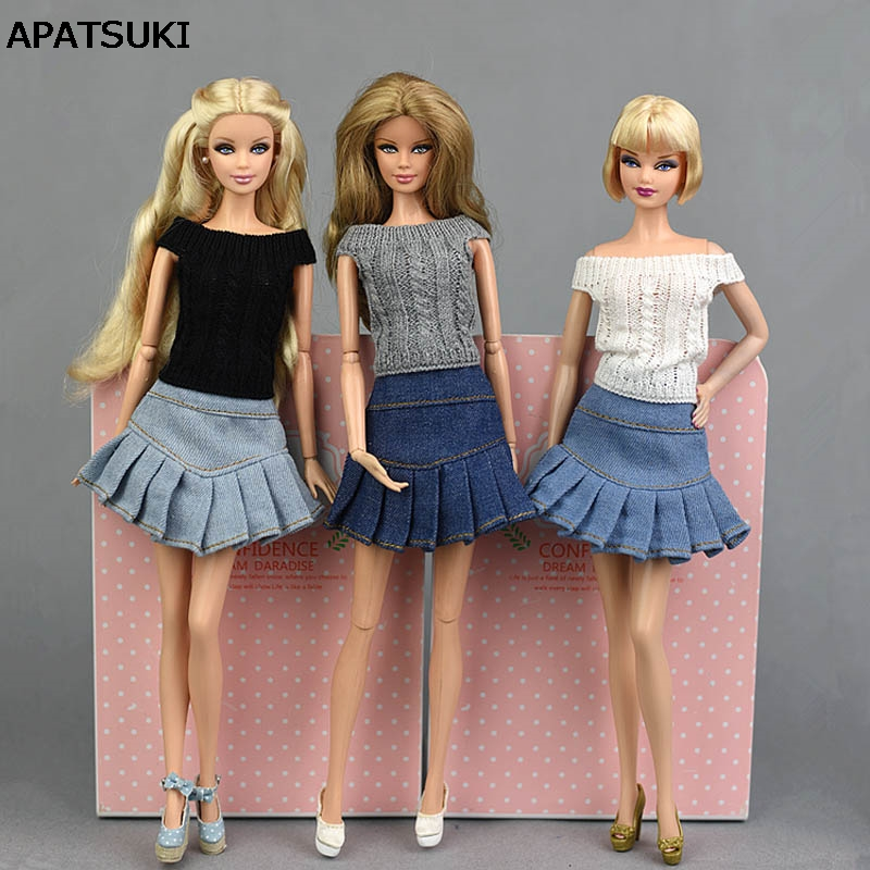 Blue Jeans Casual Wear Clothes For Barbie Doll Kids Toy A-line Skirt For Barbie Princess Doll Clothes 1/6 Doll Accessories