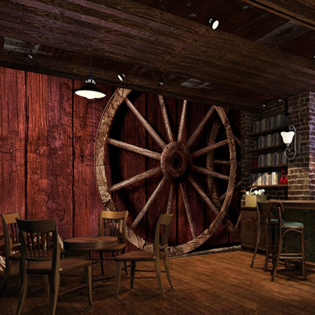 Bar Wallpaper: Custom 3D Photo Wallpaper Retro Wood Grain Wheel Rope