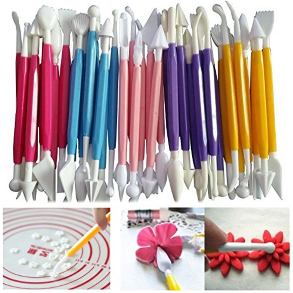 8pcs/set Carved Pen Double Headed Sugar Craft Fondant Cake Pastry Engraving Knift Chocolate Decorating Flower Clay Modelling Kit