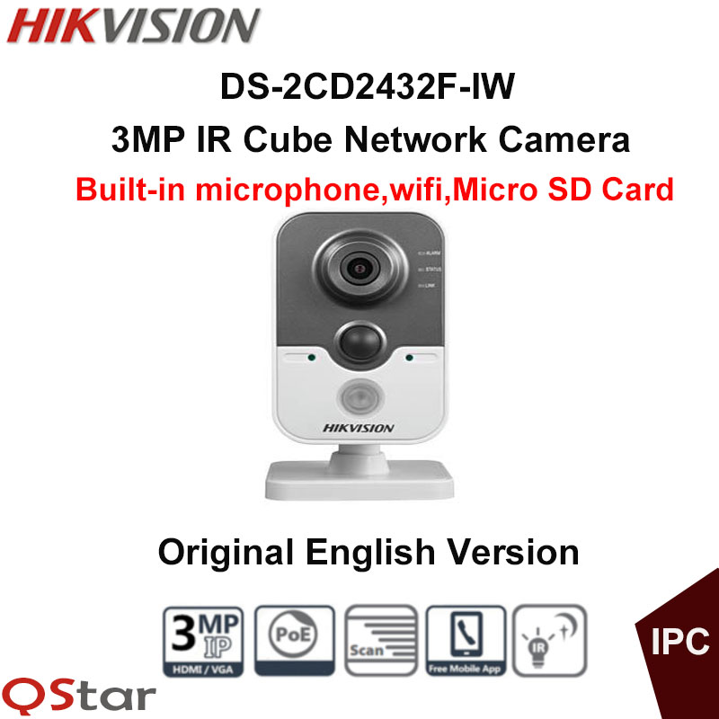 Hikvision Original English Mini WIFI Camera DS-2CD2432F-IW 3MP IR Cube IP Camera POE built in microphone wireless CCTV Camera цена 2017