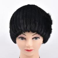 כובעי כובעי הפרווה מינק נשים סרוגות מינק פרווה אמיתי עם פרווה חורף כובעי ימס פרח פרח נשים פרווה אמיתית