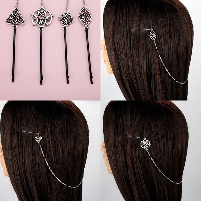 Dongsheng New Viking Knots Hairpin Celtics Knot Hair Accessories Norse Hair Pin Viking Hair Clip For Women Longhair Decorat-15