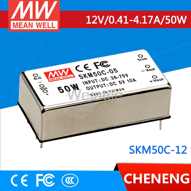 цена на MEAN WELL original SKM50C-12 12V 4.17A meanwell SKM50 12V 50W DC-DC Regulated Single Output Converter