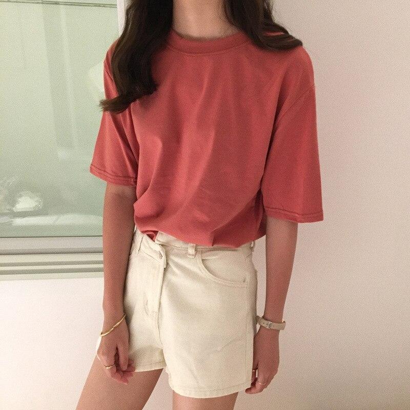 Koszulka 15 jednokolorowy podstawowy t-shirt damski Casual O-neck Harajuku letni top koreański Hipster biały T Shirt S-XL Dropship