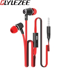 Glylezee JM21 Stereo Bass font b Earphone b font Earpieces Headset with MIC 3 5MM Hands