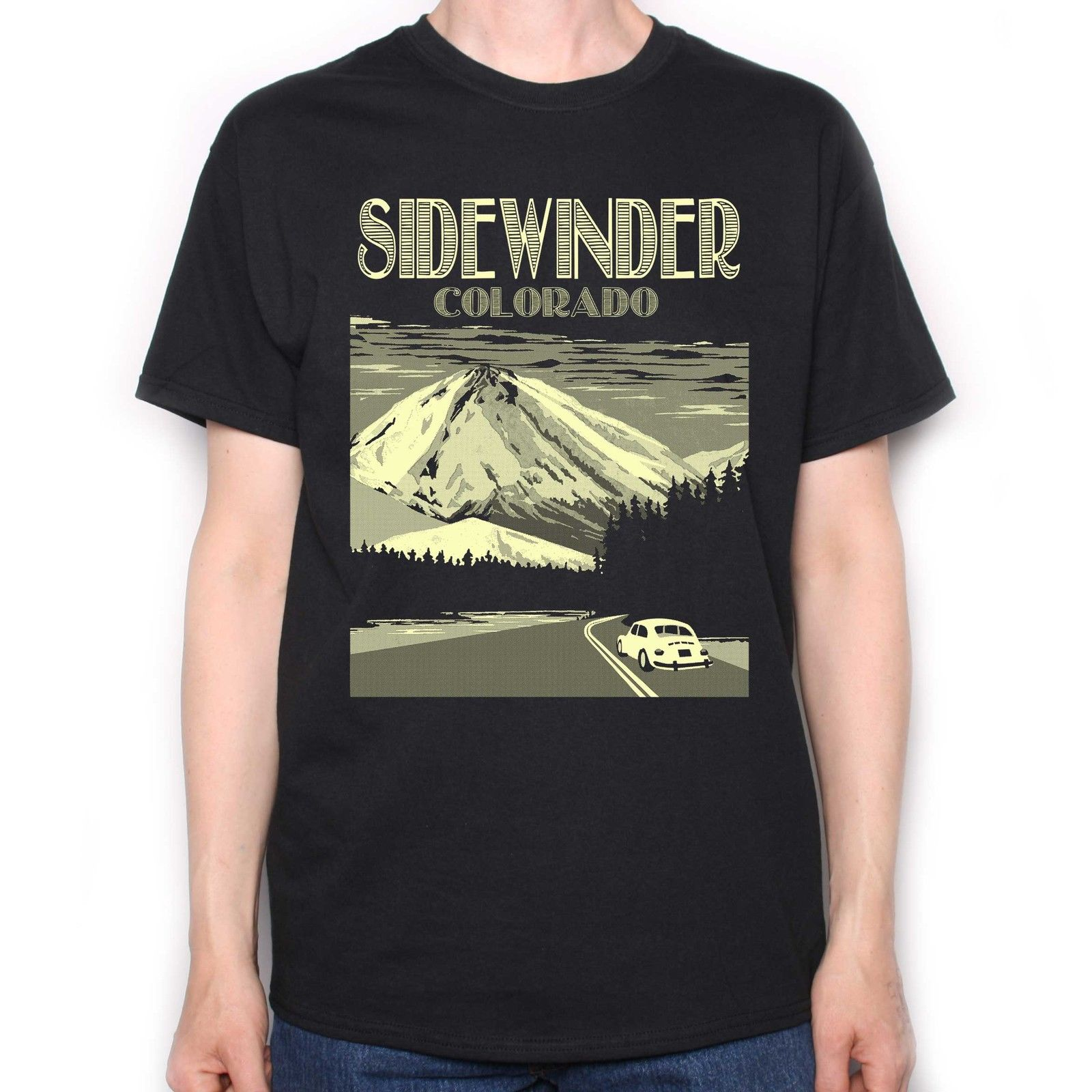 Sidewinder Colorado Travel Poster Cult Movie T Shirt for Shining Afficionados Mens Tops Cool O Neck T-Shirt Top Tee