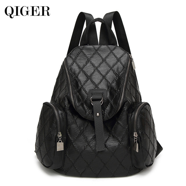 QIGER New Travel Backpack Korean Women Backpack Leisure Student Schoolbag  Soft PU Leather Women Mini Backpack cb677b928ffa8