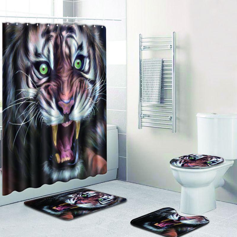 Ensemble de tapis de salle de bain coloré tigre ensemble de rideau de douche tapis 3D pour la décoration intérieure tapis de bain antidérapants tapis de pied dans ensemble de tapis de toilette