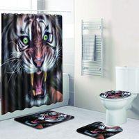 Tiger Colorful Bathroom Mat Set Shower Curtain Set 3D Carpet for Home Decor Non Slip Bath Mats Foot Pad In Toilet Rugs Set