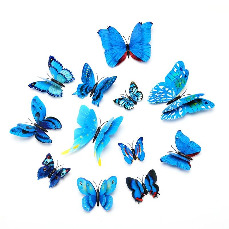 12pcs/lot PVC 3d Butterfly Wall Decor Cute Butterflies