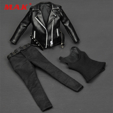ZY Toys Female Clothes T-800 1/6 Women Black Leather Jacket ZY15-19 for 12 Action Figure Accessories