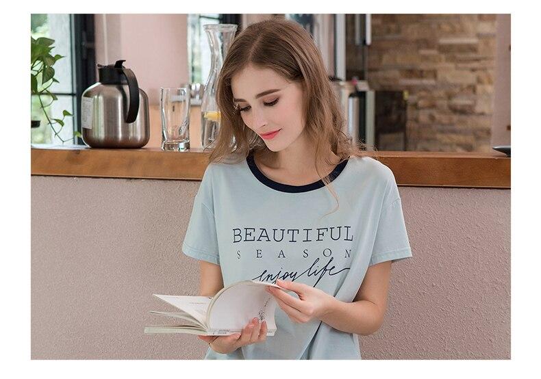 Summer Plus Size Pyjama Sets Women Casual Pajama Sets Ladies Cotton T Shirt + Shorts Female O-Neck Collar Sleepwear Suit
