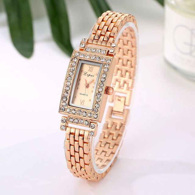 2017 New Women Bracelet Watches Rectangle Crystal Dress WristWatch For Ladies Lu