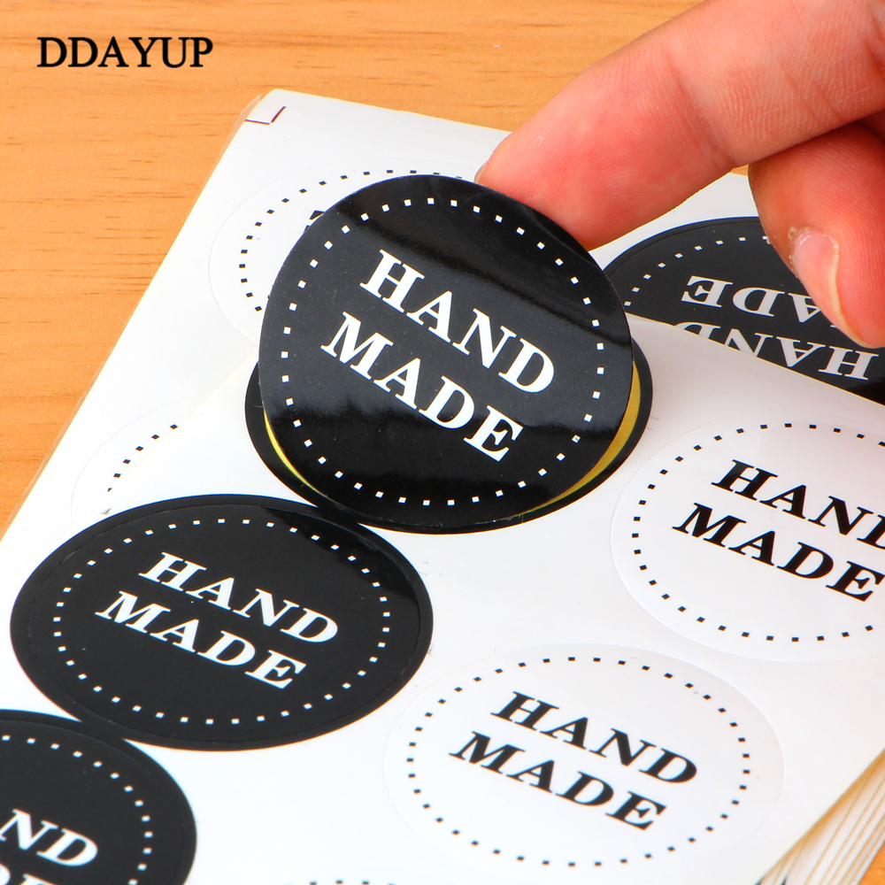 80pcs/10sheet Adhesive Stickers Kraft Label Sticker Diameter 3.6cm For Diy Hand Made Gift Cake Candy Paper Tags