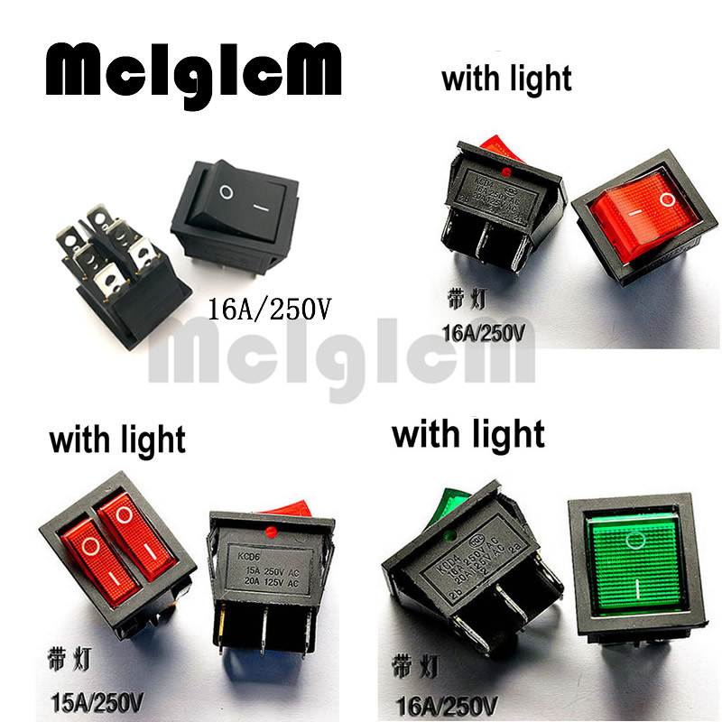5x Square Rocker DPST Car Switch Red LED Lit On//Off Snap-In 15A//250V 20A//125V AC