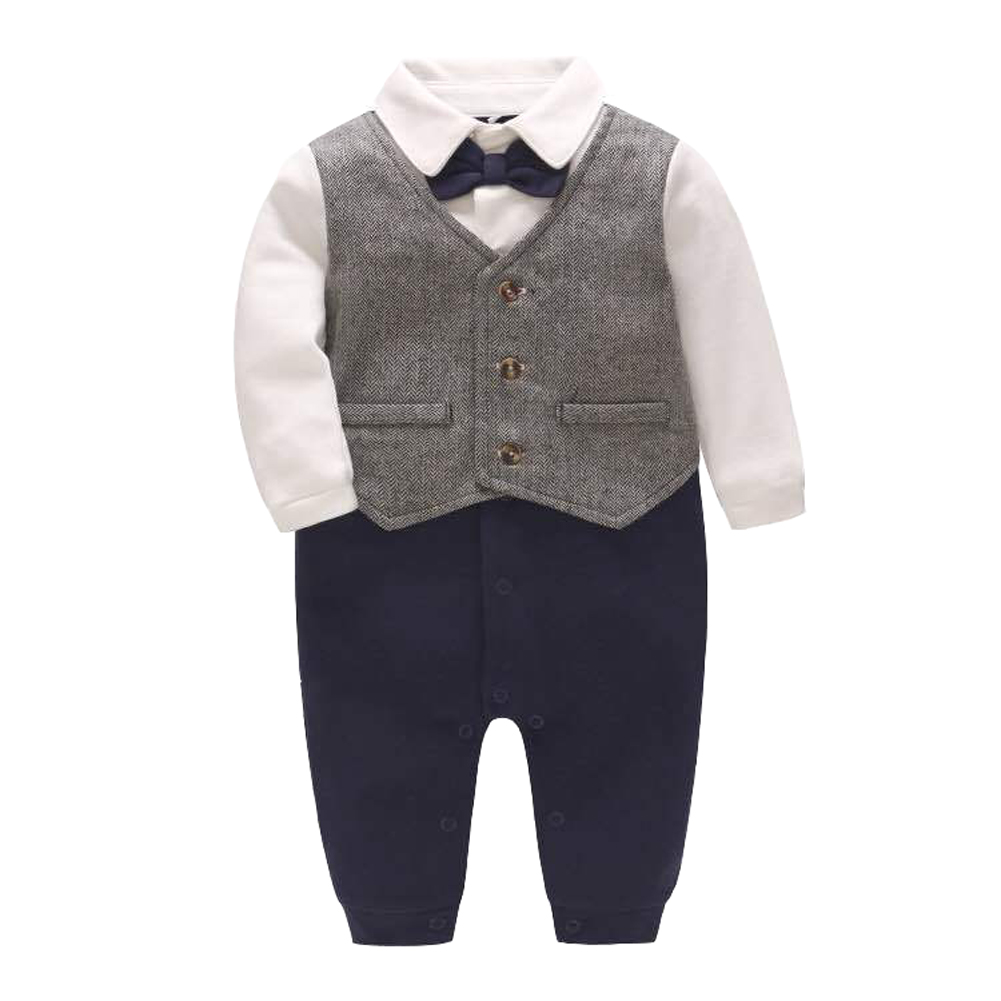 Newborn Baby Boy Onesie Rompers Suits Gentleman Formal Outfits With Bowtie recém nascido roupa de bebe com gravata borboleta