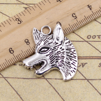 8pcs Charms Wolf Dog Wolfhound 35x30mm Antique Silver Color Pendants Making DIY Handmade Tibetan Finding Jewelry image