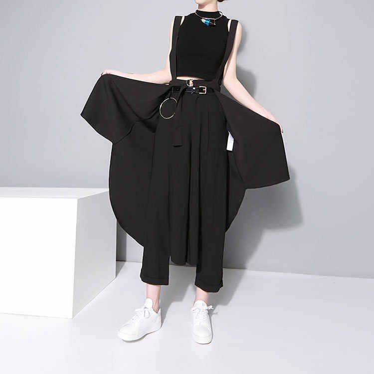 2019 韓国スタイルの女性のソリッド黒非対称シフォンスカート & サッシ膝丈ロングテール女性のユニークなサスペンダースカート 1431