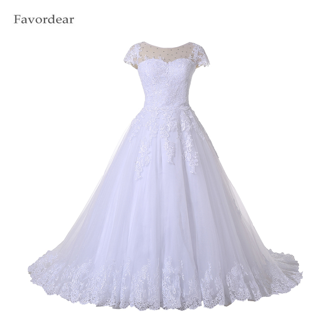 Favordear Beading See Through Back Lace Bridal Gowns Robe De Mariage Ball Gown Lace Wedding Dress Vestido De Noiva Vintage