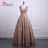 New Fashion Long Evening Dress 2017 Sleeveless Sexy Small Flowers Formal Party Prom Dress Evening Gowns
