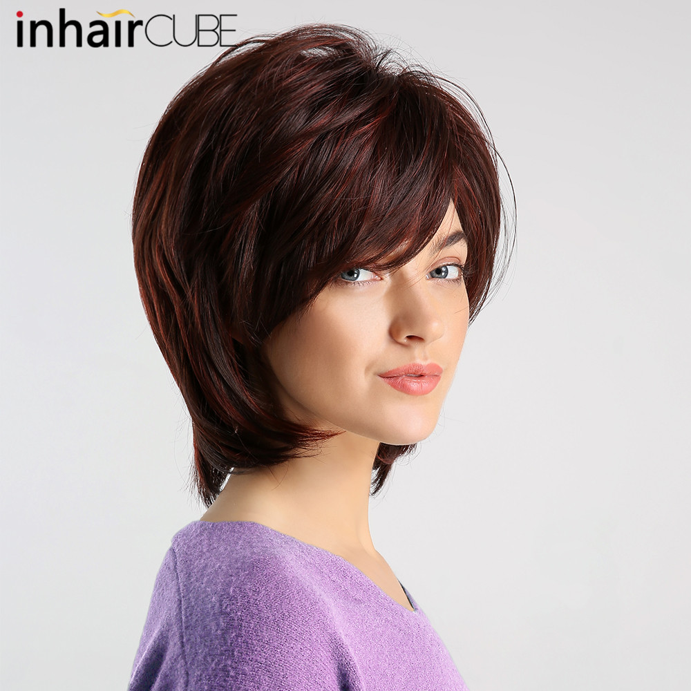 Inhaircube Synthetic Inclined Bangs Women Wig Wine Red With Highlight Short Straight Hair Bob Wigs Cosplay Auburn Hairstyle