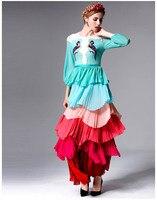 Vestidos largo elegante multicolor capas hombros encaje 3