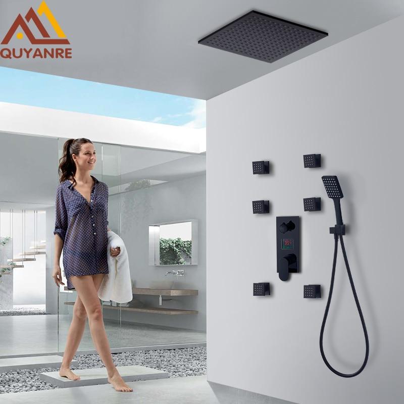 Quyanre Black Digital Shower Faucets Set Rainfall Shower 6pcs Massage Spa Jets 3-way Digital Display Mixer Tap Bathroom Shower