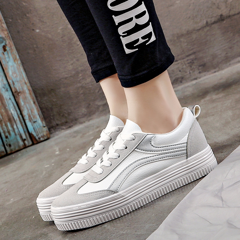 2019 Spring Microfiber Breathable Ladies Casual Sneakers Classic Microfiber Women Striped White Shoes Students Non-slip Leisure