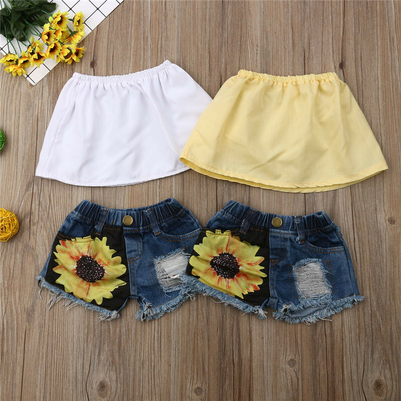 057f91c73e98 Kids Baby Girls Clothing Sunflower Outfits 1-5Y Fashion Solid Strapless Crop  Tops+Ripped Shorts Holes Flower Shorts 2Pcs Sets ~ Hot Sale July 2019