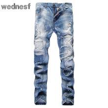 #1954 голубой Лоскутная Тонкий Дешевые джинсы мужские Поддельные дизайнер одежды Рваные джинсы для мужчин Проблемные Тощий Мужские байкер джинсы