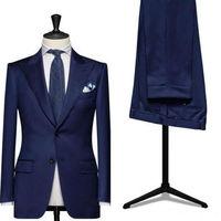 2019 Airtailors mens suits fashion Navy blue Wedding Suits For Men Peak Lapel Groomsmen Tuxedos Suits Groom Suits Plus Size