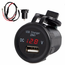 Waterproof 2 1A Car Motorcycle 2in1 USB Port Phone Charger Led voltmeter Car Interior font b