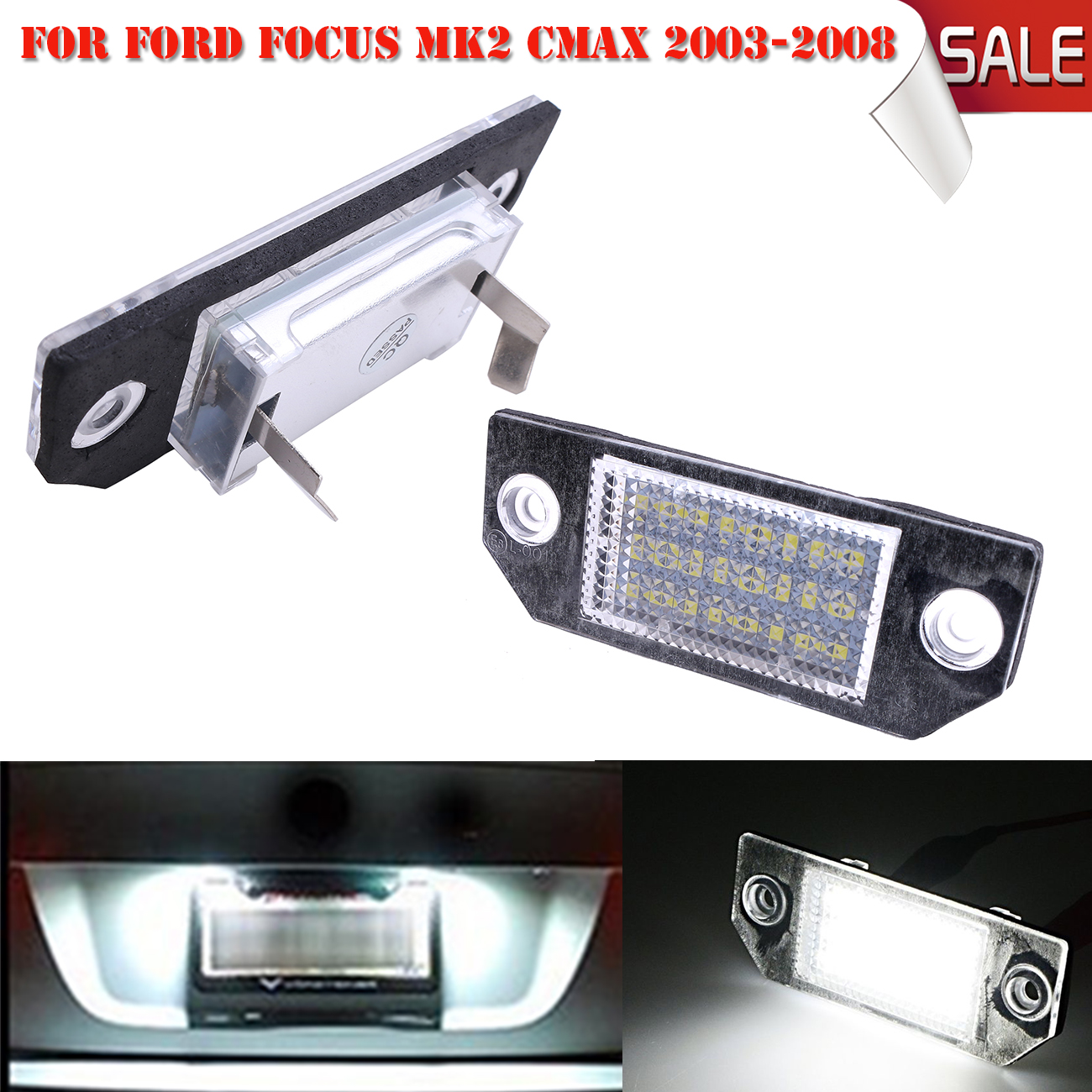 1 pair license plate light replacement lamps for ford focus mk2 c max mk1 2003