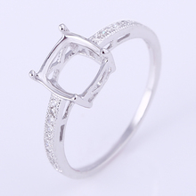 Solid 14k White Gold Engagment Wedding Ring Jewelry 7mm Cushion Cut Natural Diamonds Semi Mount Setting