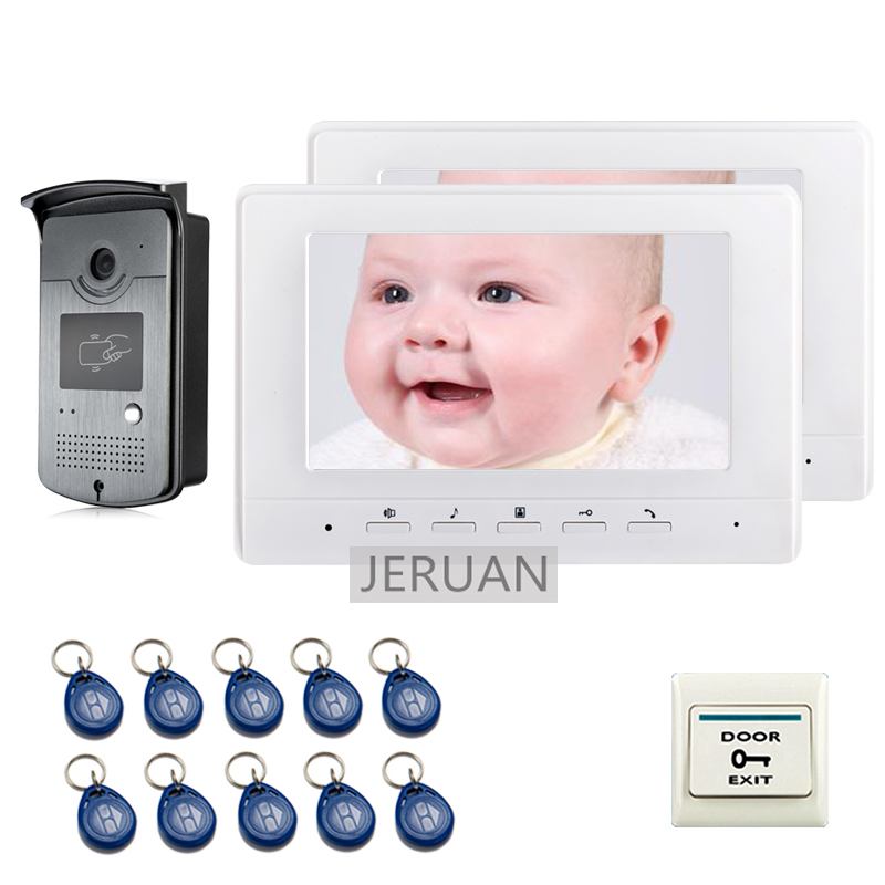 FREE SHIPPING 7 Screen Video Intercom Door Phone System + 2 White Monitor + 700TVL RFID Card Reader Doorbell Camera free shipping brand rfid accdss card reader door intercom camera for video intercom door phone in stock wholesale