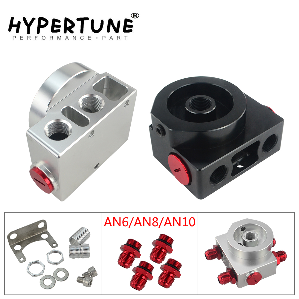 Hypertune - Oil Filter Sandwich Adaptor With Oil Filter Remote Block With Thermostat 1xAN8 4xAN6/AN8/AN10 HT5675